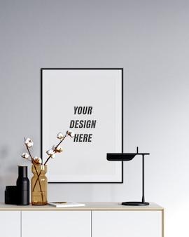Moldura para pôster e maquete de parede com decoração minimalista