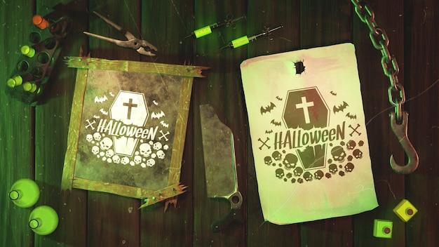 Moldura plana halloween velho e papel com gancho