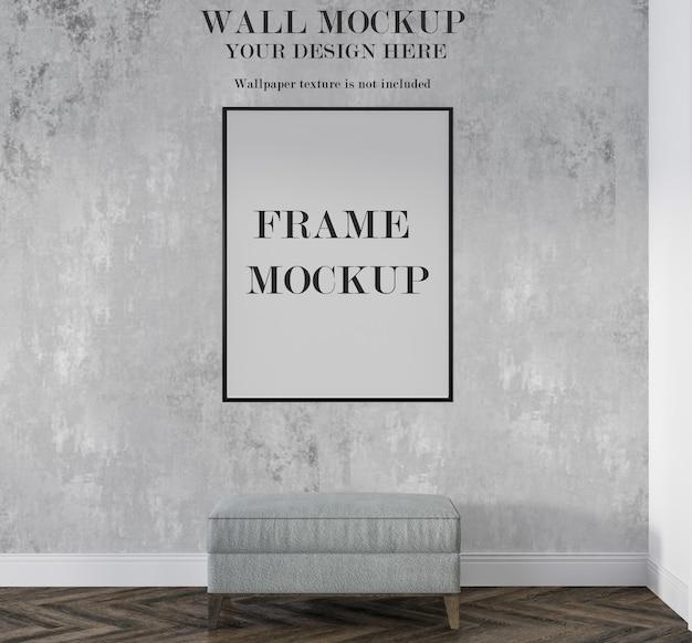 Moldura preta em branco no design da parede de maquete