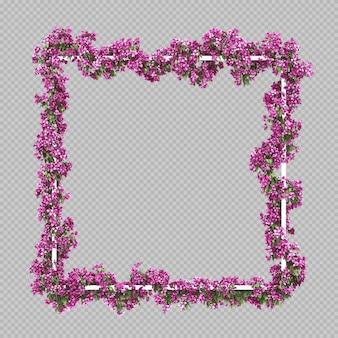 Moldura quadrada vazia com filtro aquarela rosa buganvílias
