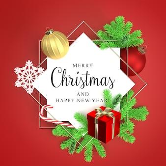 Moldura redonda com galhos de árvores de natal e maquete de caixa de presente