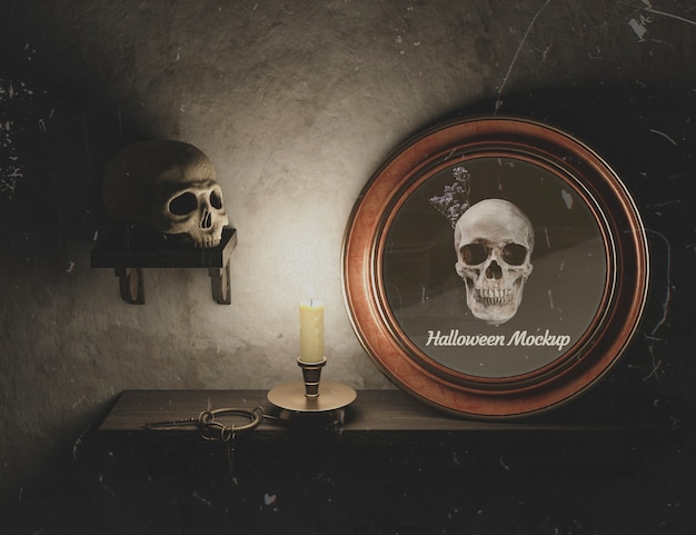 Moldura redonda de halloween com caveira e decoração gótica