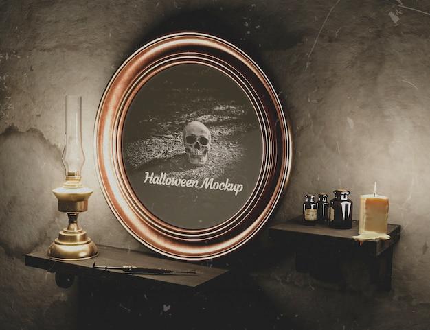 Moldura redonda de halloween com caveira na parede