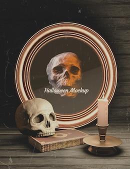Moldura redonda de halloween com elementos góticos e caveira