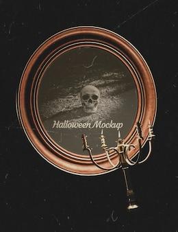 Moldura redonda de halloween com suporte de caveira e velas