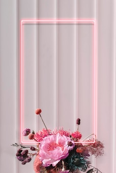 Moldura retangular de néon floral em branco