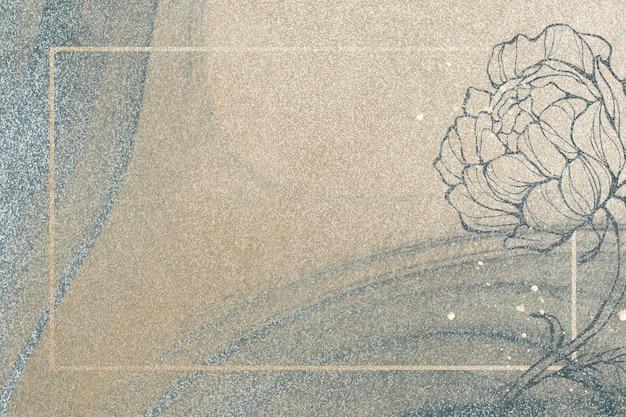 Moldura retangular de ouro com decoração de flores contornadas em ilustração de fundo com glitter dourados