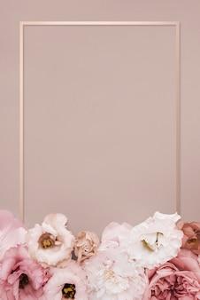 Moldura retangular floral rosa linda
