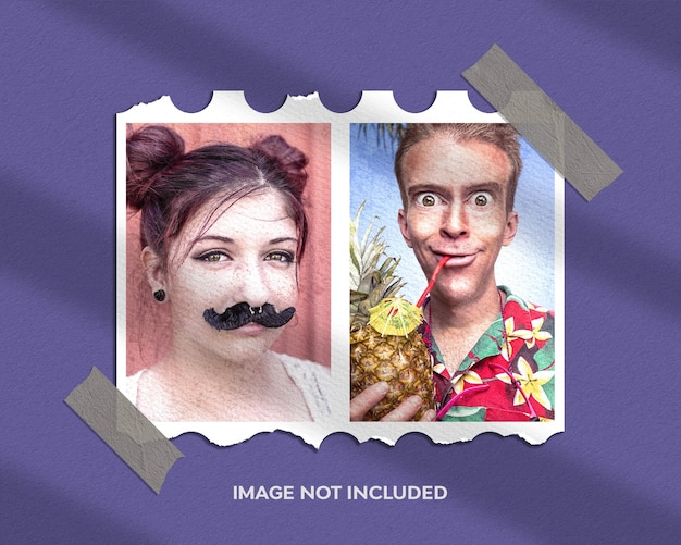 Moldura retrato foto maquete em papel rasgado