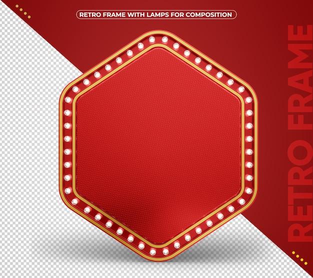 Moldura retro led vermelha com renderização de bordas de alumínio dourado