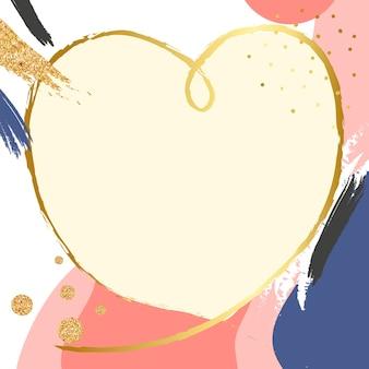 Moldura retro memphis psd com glitter e formato de coração de ouro