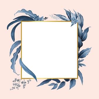 Moldura vazia com design de folhas azuis