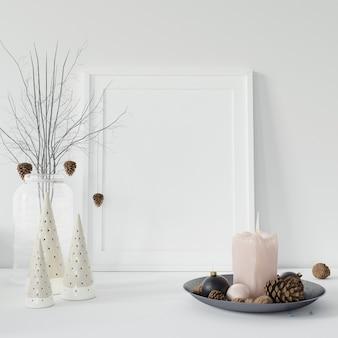 Moldura vazia e galhos decorativos