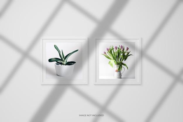 Molduras de fotos ou maquete de pôster na parede