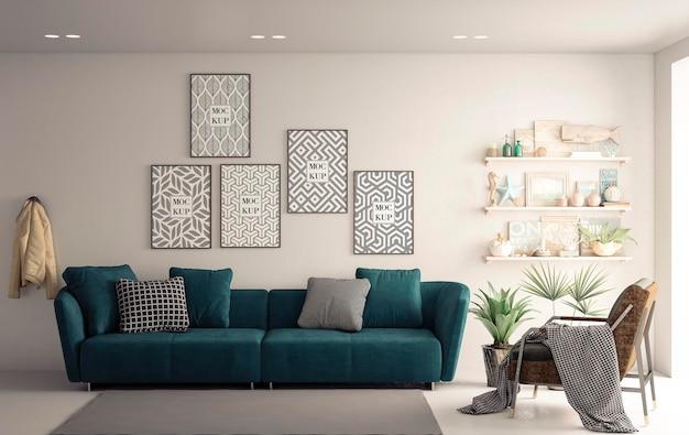 Molduras de lona de maquete na sala de estar branca com sofá verde