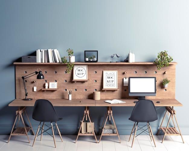 Molduras de maquete de escritório de espaço de trabalho dos sonhos em painel de madeira