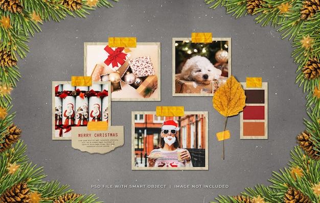 Molduras de papel fotográfico de saudação de natal moodboard mockup