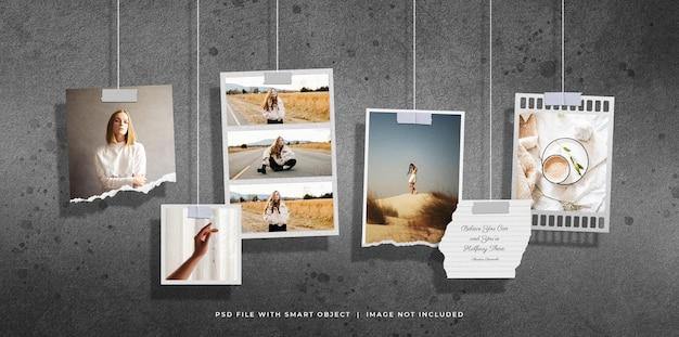 Molduras de papel fotográfico penduradas definir quadro
