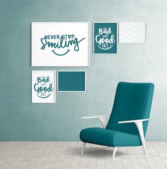 Molduras de parede de maquete com cadeira de quarto