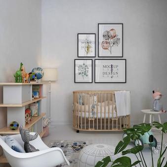 Molduras de pôster de maquete em um quarto simples de berçário