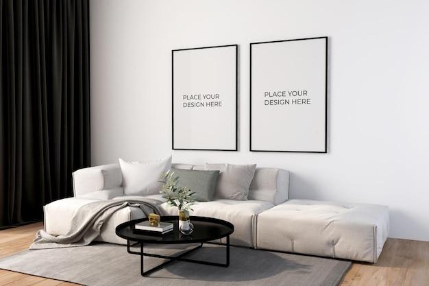 Molduras de pôster em maquete de sala de estar
