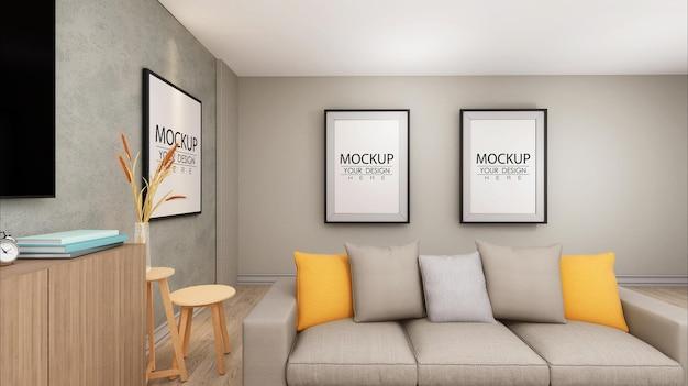 Molduras de pôster na maquete da sala de estar