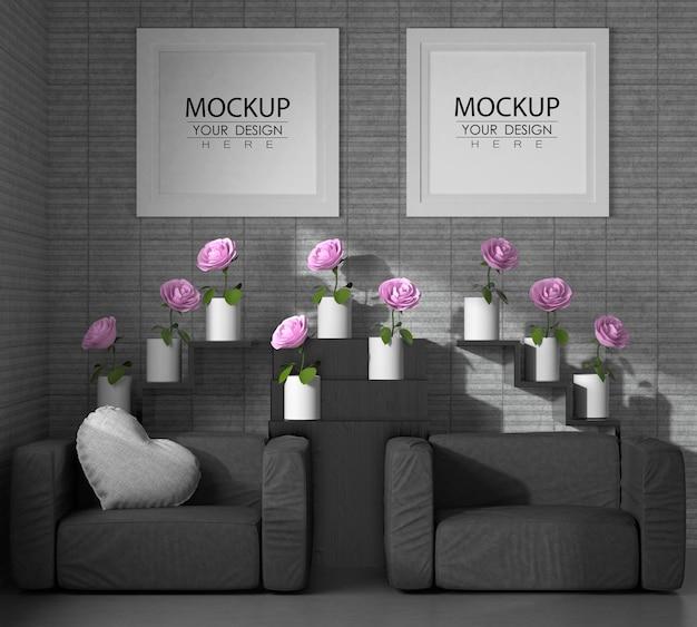 Molduras de pôster na sala de estar