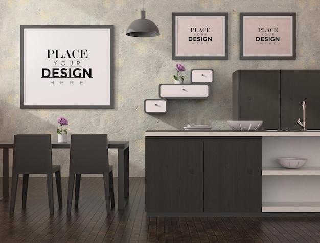 Molduras de pôster na sala de jantar e na cozinha