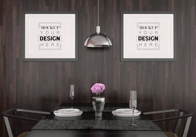 Molduras de pôster na sala de jantar