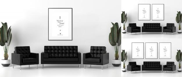 Molduras em branco para maquetes na sala de estar