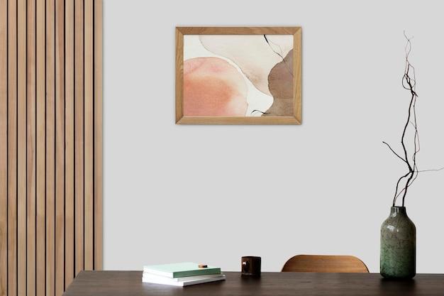 Molduras maquete psd penduradas na parede design de interiores escandinavo