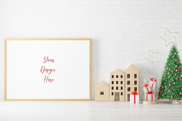 Molduras para fotos de pôster de maquete com decoração de natal. renderizado em 3d.