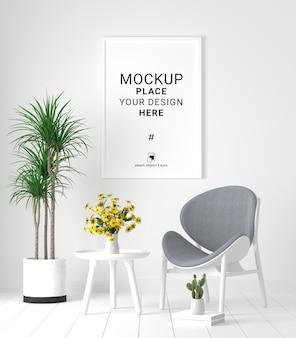 Molduras para fotos em branco na sala de espera