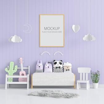 Molduras para fotos em branco para maquete na sala de estar