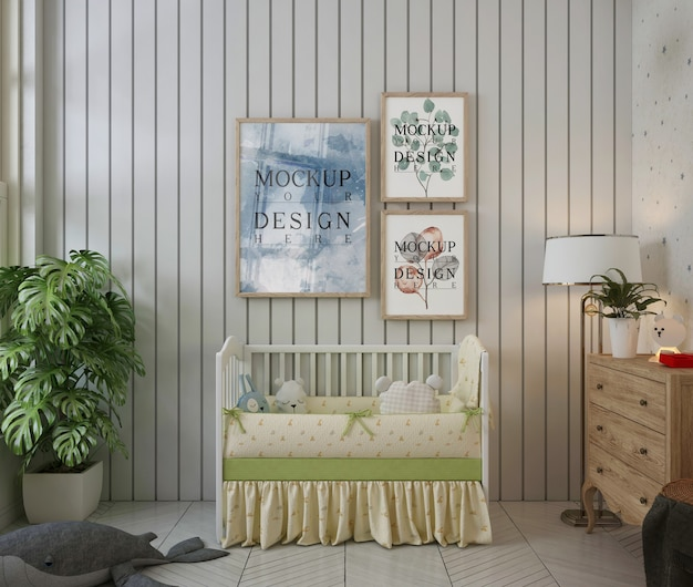 Molduras para fotos na parede de um quarto de bebê moderno