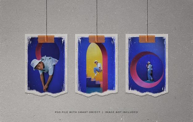 Molduras para fotos polaroid rasgadas de suspensão moodboard mockup