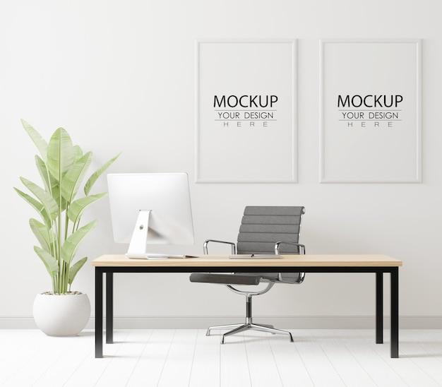 Molduras para pôster em maquete de escritório