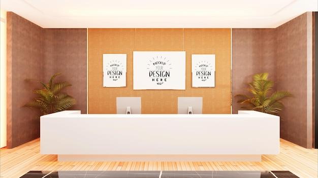 Molduras para pôster na maquete do corredor