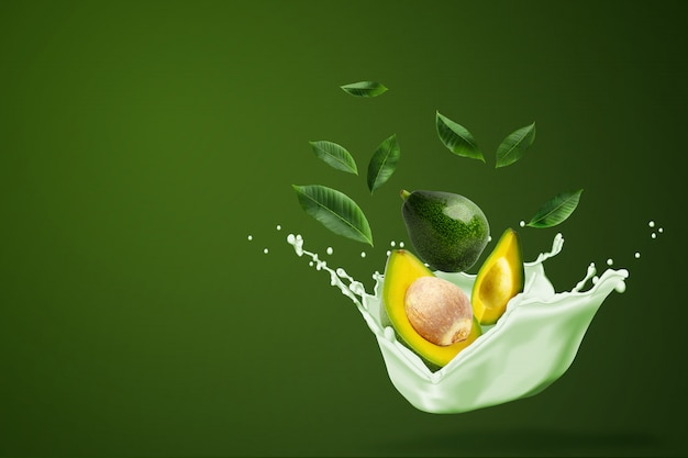 Molhe o espirro no abacate verde cortado fresco no verde.