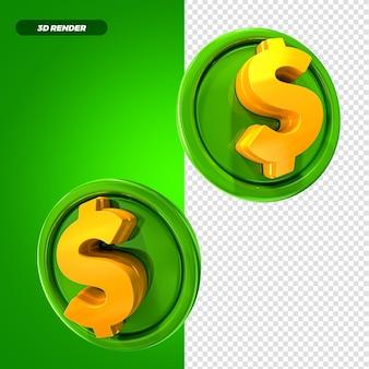 Money coin 3d render conceito premium psd