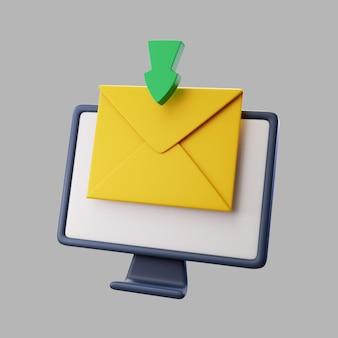 Monitor de desktop 3d com e-mail