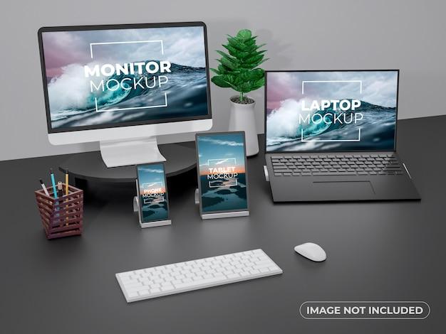 Monitor de espaço de trabalho, modelo de tela de laptop, telefone e tablet