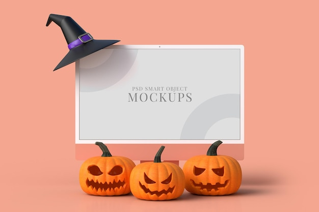 Monitor de mock-up de halloween de 24 polegadas com abóboras. maquete do conceito de halloween