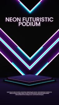 Monitor de produto de iluminação colorido elegante neon podium