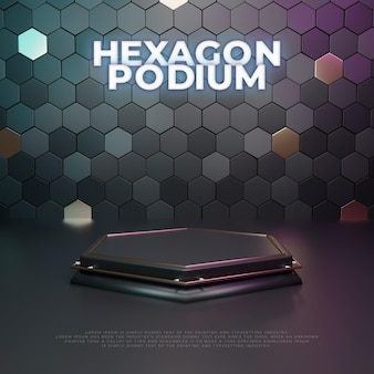 Monitor de produto hexagon 3d podium