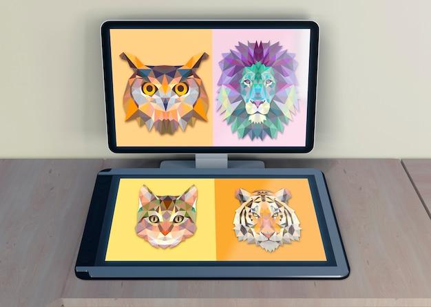 Monitor e tablet com desenho artístico