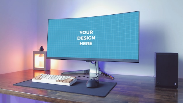Monitor em branco ultra-amplo