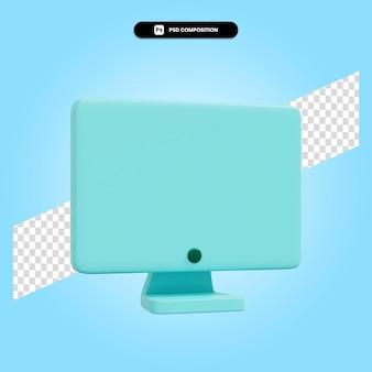 Monitore a ilustração da renderização 3d isolada