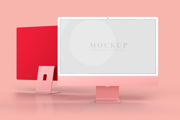 Monitore modelo de maquete de 24 polegadas para apresentação de marca, identidade corporativa, publicidade, negócios de marca. renderização 3d