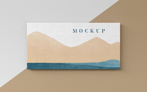 Montanhas pintando na vista superior da tela
